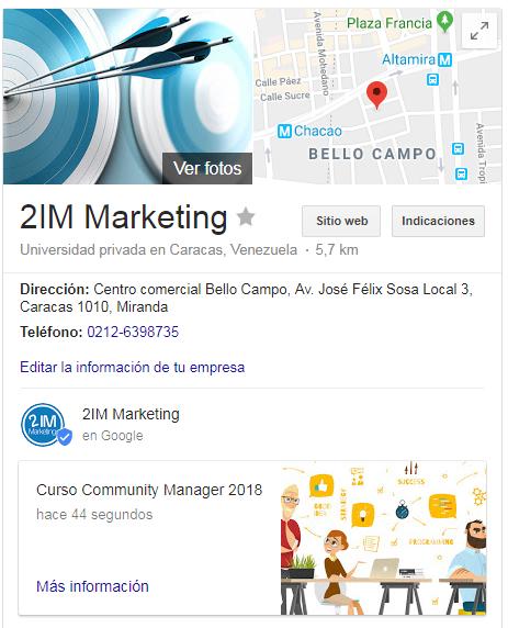 Publicación Google my Business